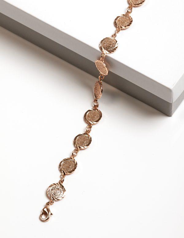 Callel Rose Gold Color Coin Bracelet