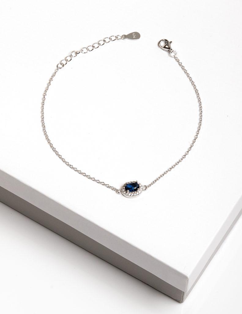 Callel 925 Sterling Silver Clear & Sapphire CZ Bracelet