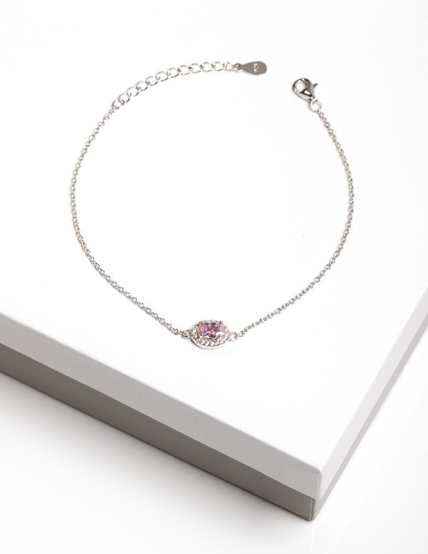 Callel 925 Sterling Silver Clear & Rose CZ Bracelet