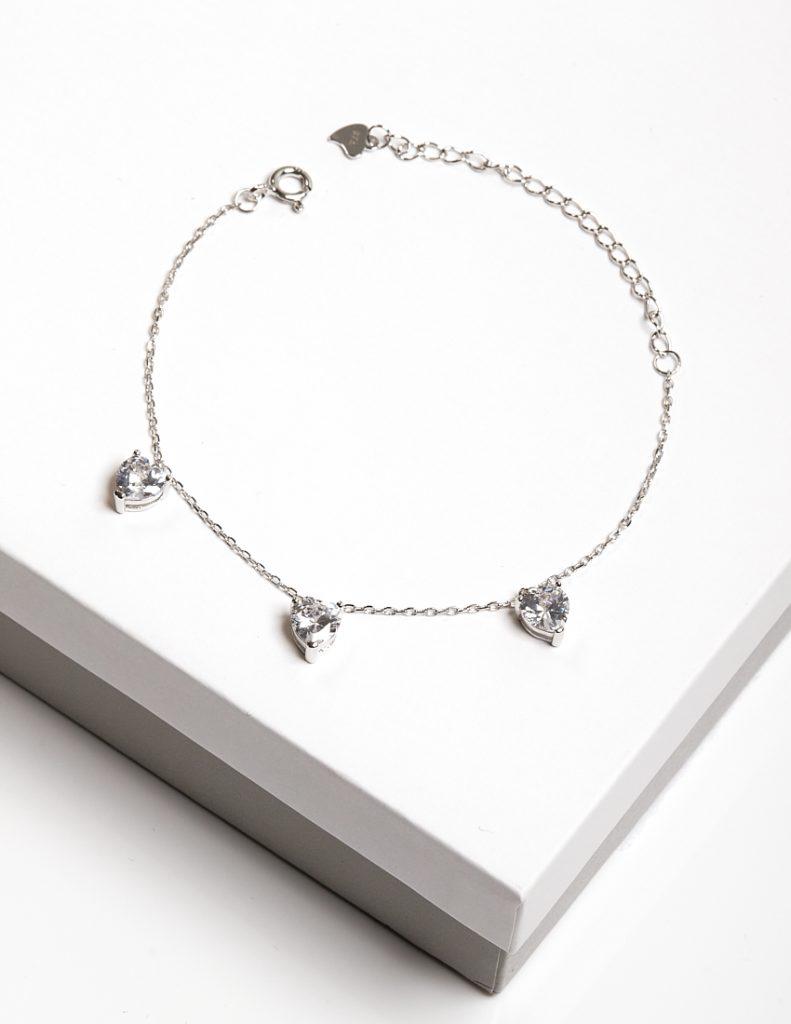 Callel Sterling Silver Clear CZ Heart Charm Bracelet