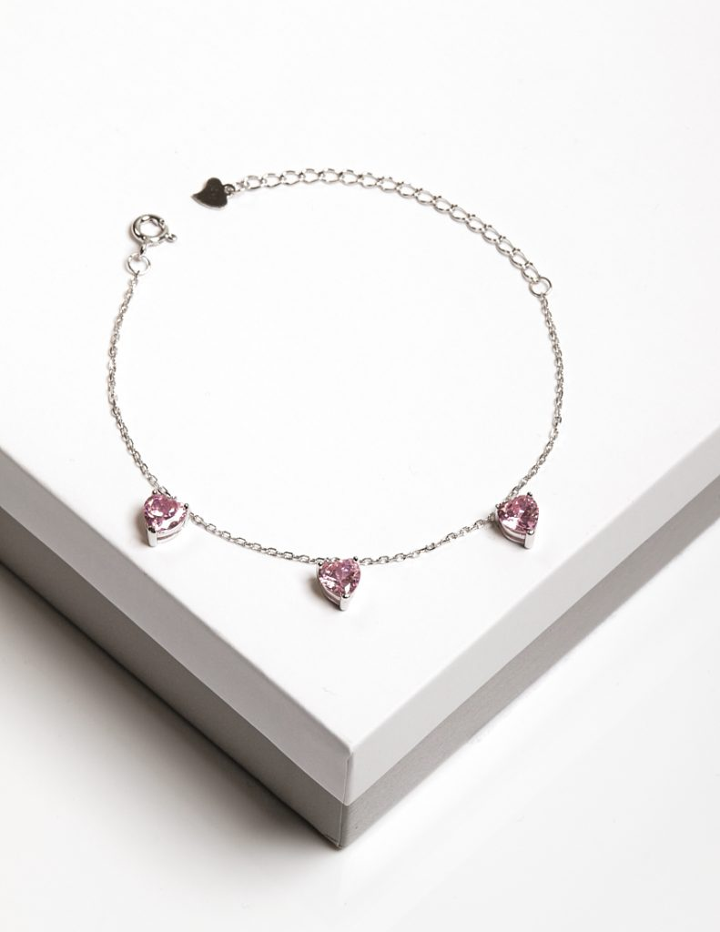 Callel 925 Sterling Silver Rose CZ Heart Charm Bracelet
