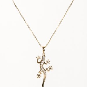 14K Gold Cubic Zirconia Lizard Pendant Necklace