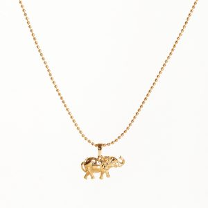 24K Gold Elephant Pendant Necklace