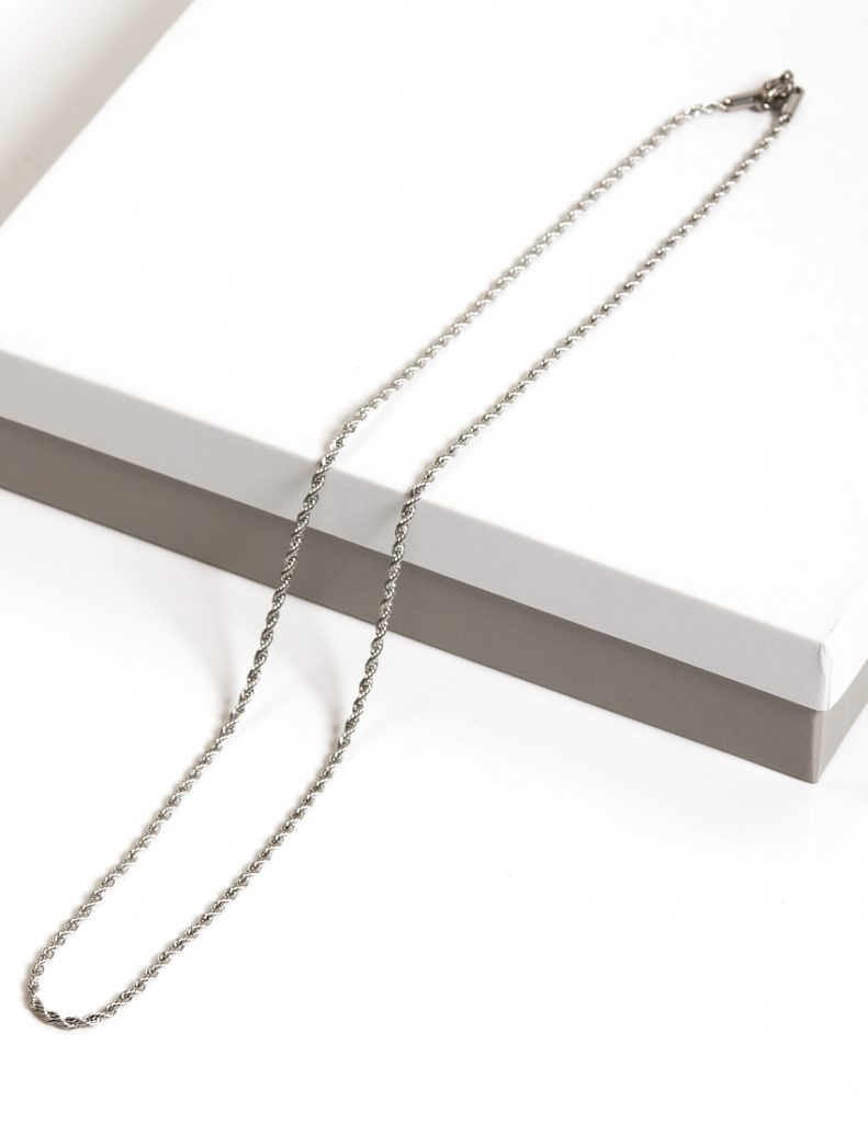 Callel Twist Rope Silver Stainless Steel Chain Necklace
