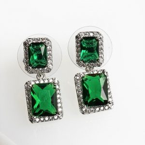 Silver Square Green Cubic Zirconia Crystal Drop Stud Earrings