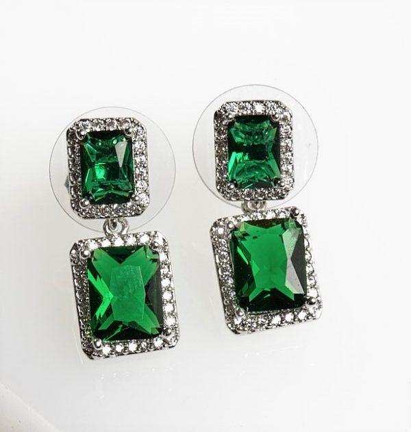 Callel Silver Square Green Cubic Zirconia Drop Earrings