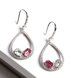 Silver Hook Earrings Embellished With White & Rose Crystals From Swarovski