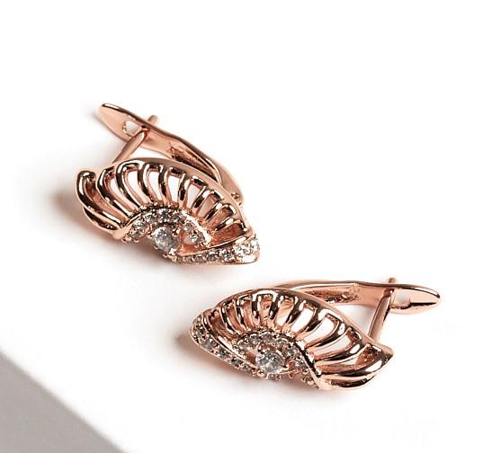 Callel Rose Gold Cubic Zirconia Latch Back Earrings