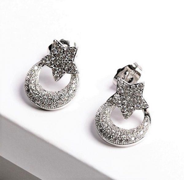 Callel Silver Moon Star Drop Stud Earrings