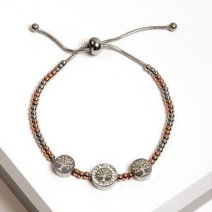 Silver & Rose Gold Bitsy Tree Of Life Charm Bracelet