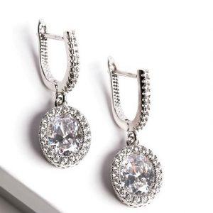 Silver Oval Cubic Zirconia Latch Back Dangle Earrings