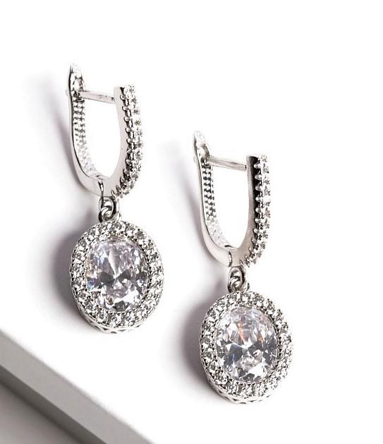 Callel Silver Oval Cubic Zirconia Latch Back Dangle Earrings