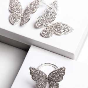 Luxury Silver Cubic Zirconia Butterfly Earrings & Ring Jewellery Set