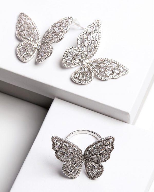 Callel Luxury Silver Cubic Zirconia Butterfly Earrings & Ring Jewellery Set
