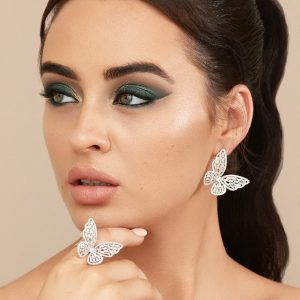 Luxury Silver Cubic Zirconia Butterfly Earrings & Ring Jewellery Set