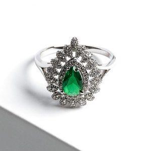 Silver Pear Cut Emerald Green Cubic Zirconia Ring