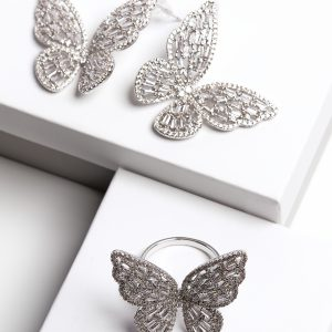 Callel Luxury Silver Cubic Zirconia Butterfly Earrings & Ring Jewellery Set