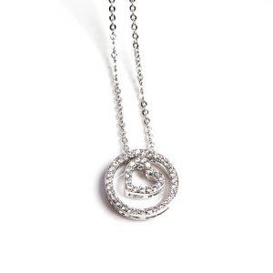 Cubic Zirconia Heart Circle Pendant Necklace