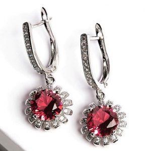 Floral Ruby Latch Back Dangle Earrings