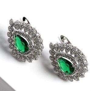 Silver Pear Cut Green Cubic Zirconia Latch Back Earrings