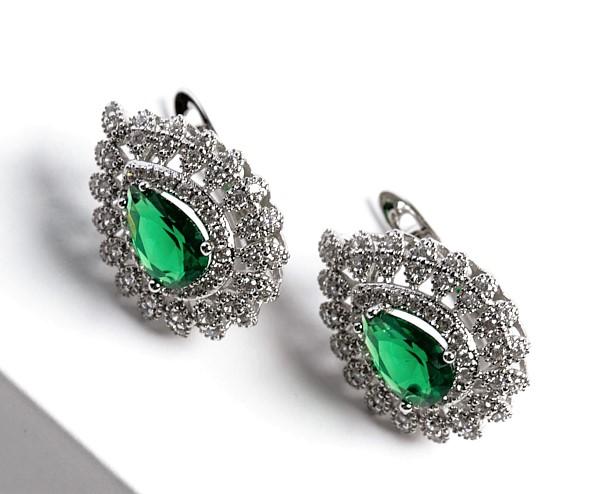 Callel Silver Pear Cut Green Cubic Zirconia Latch Back Earrings