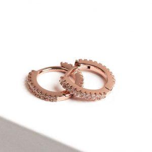 Rose Gold Cubic Zirconia Huggie Hoop Earrings