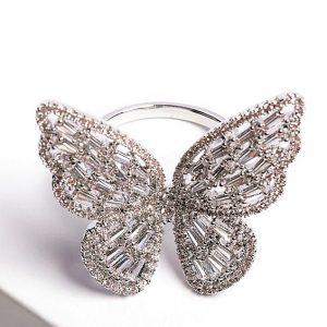 Luxury Silver Cubic Zirconia Butterfly Open Ring