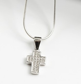 925 Sterling Silver Clear CZ Cross Pendant Necklace