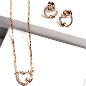 Gold Heart Earrings and Necklace Jewellery Set