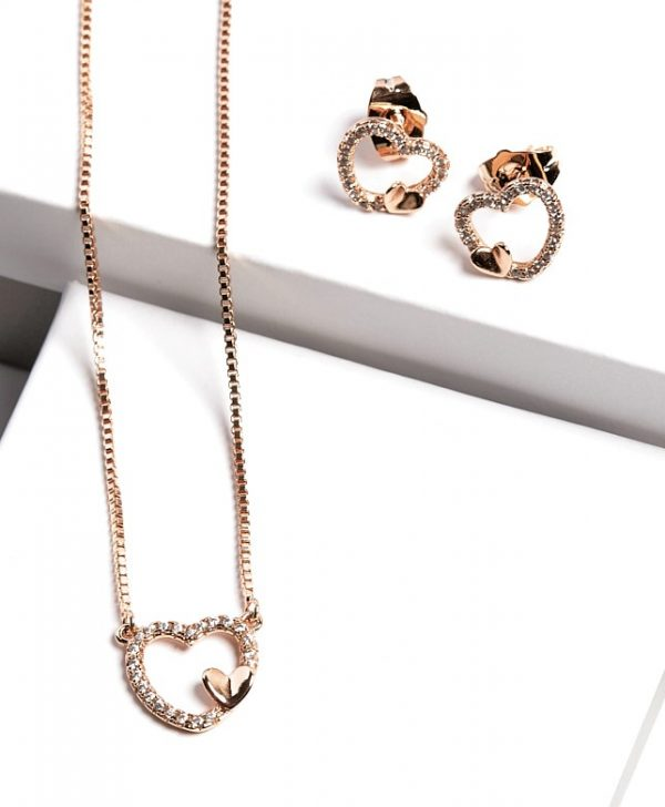 Callel Heart Earrngs and Necklace Jewellery Set