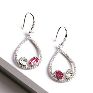 Callel Earrings Embellished With White & Rose Crystals From Swarovski