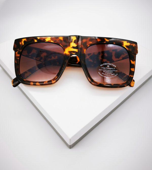 Callel Flat Top Square Frame Leopard Print Sunglasses