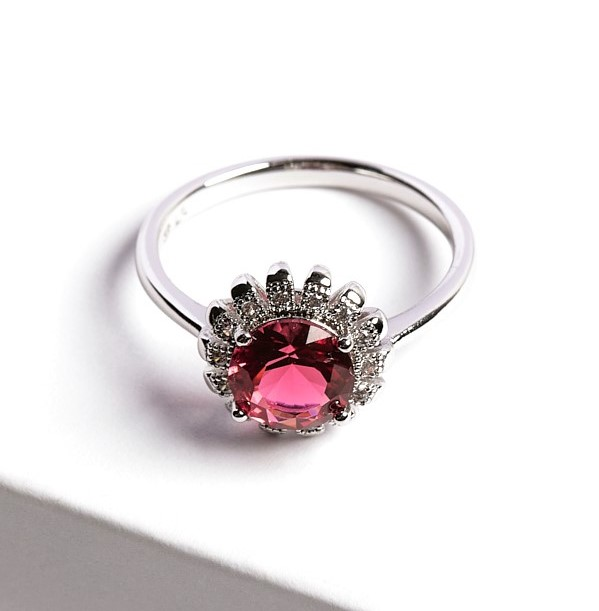 Callel Floral Ruby Silver Ring