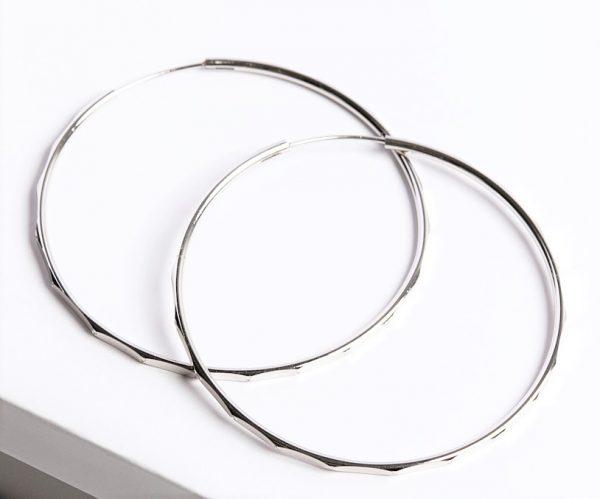 Callel Rhodium Silver Cut Hoop Earrings