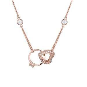 Rose Gold Cubic Zirconia Crystal Anniversary Pendant Necklace