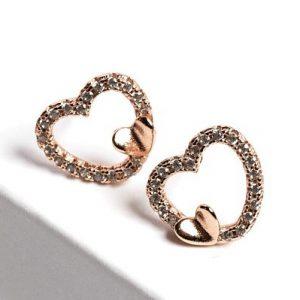 Cubic Zirconia Crystal Heart Stud Earrings