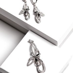 Black Stone Silver Cubic Zirconia Butterfly Earrings And Pendant Set