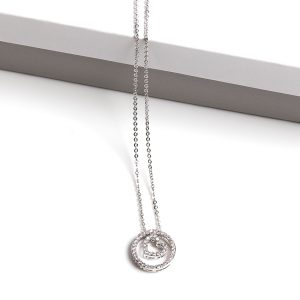 Cubic Zirconia Heart Circle Pendant Necklace