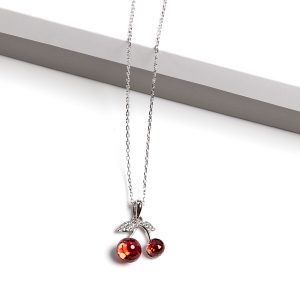 Cherry Pendant Necklace Embellished With Red Crystal From Swarovski