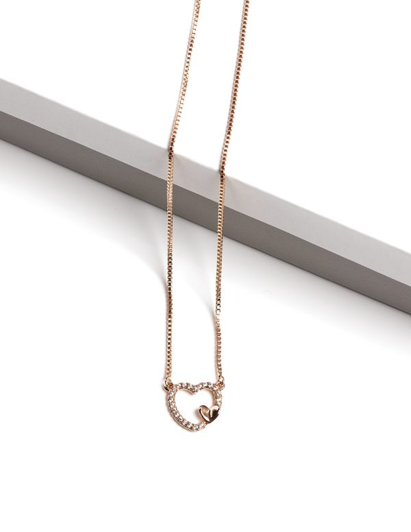 Callel 18K Gold Color Heart Earrngs and Necklace Jewellery Set