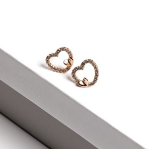 Callel 18K Gold Color Heart Stud Earrings