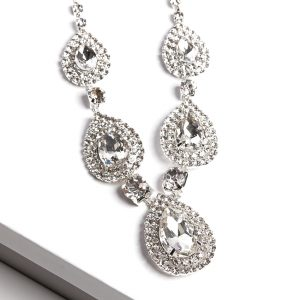 Clear Cubic Zirconia Crystal Earrings & Necklace Costume Jewellery Set
