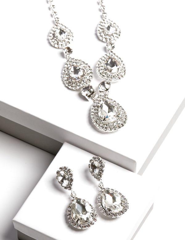 Callel Clear Crystal Earrings & Necklace Jewellery Set