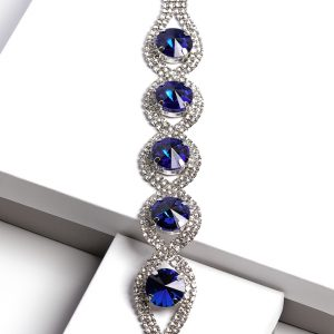 Royal Blue Oval Cubic Zirconia Bracelet