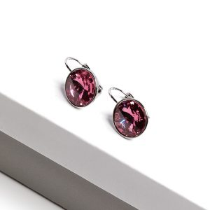 Silver Huggie Earrings Embellished With Rose Color Crystal From Swarovski