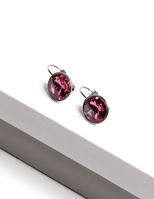 Callel Silver Earrings Embellished With Rose Crystal From Swarovski
