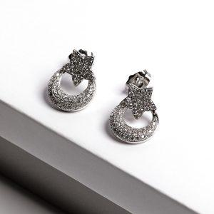Silver Cubic Zirconia Moon Star Drop Stud Earrings