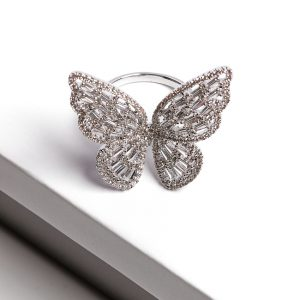 Luxury Silver Cubic Zirconia Butterfly Open Ring
