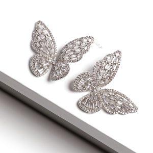 Luxury Silver Cubic Zirconia Butterfly Stud Earrings