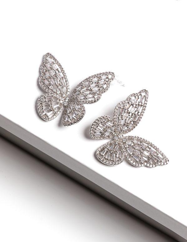 Callel Luxury Silver Butterfly Stud Earrings